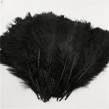 10pcs/lot 25-30cm fluffy soft ostrich feathers dye black feather for craft ostrich plumes wedding party decoration 10-12inches
