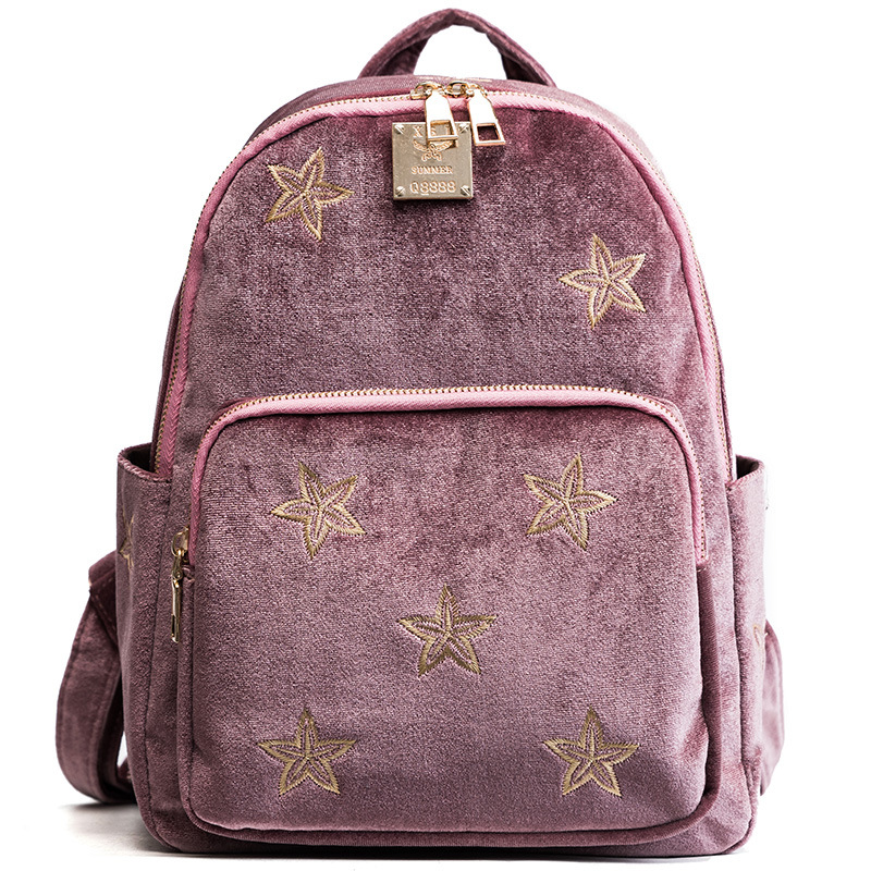 New womens backpack Faux Suede Oxford cloth material star embroidered backpack for women<br>