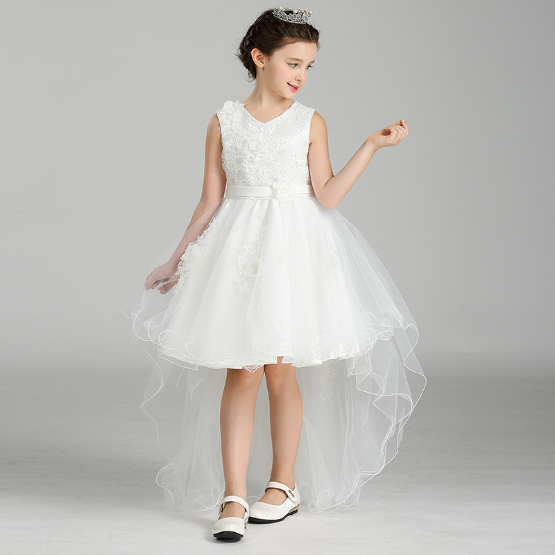 Elegant Fishtail Girls Withe Tutu Princess Dress Baby Bridesmaid Flower Girl Wedding Dress Kids Halloween Evening Party Dresses<br>