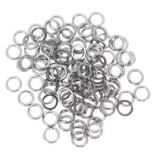 100Pcs/Lot silver split ring fishing connector brand fish hooks hot pattern recall fishing tackle tools lure hooks pesca(China)