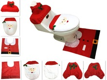 3pcs/set Cheap Santa Ornament Snowman Toilet Seat Cover +Rug Bathroom Mat Set Christmas Xmas Decoration For Home Wholesale(China)
