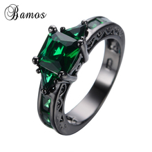 Bamos Classical Male Female Green Ring Fashion Black Gold Filled Jewelry Vintage Wedding Rings For Men And Women Birth Stone