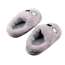 Electric Heat Slipper USB Gadget Cute Grey Piggy Plush USB Foot Warmer Shoes