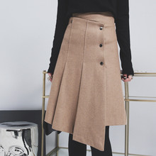 European High Waist Slim Wool Skirts 2017 Winter New Fashion Asymmetrical Midi Skirt Street Style Button Bottom Wear 63429