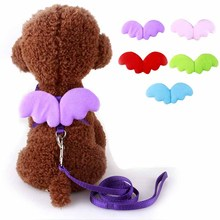 Cute Angel Pet Dog Leashes and Collars Set Puppy Leads for Small Dogs Cats Designer Wing Adjustable Dog Harness Pet Accessories(China)