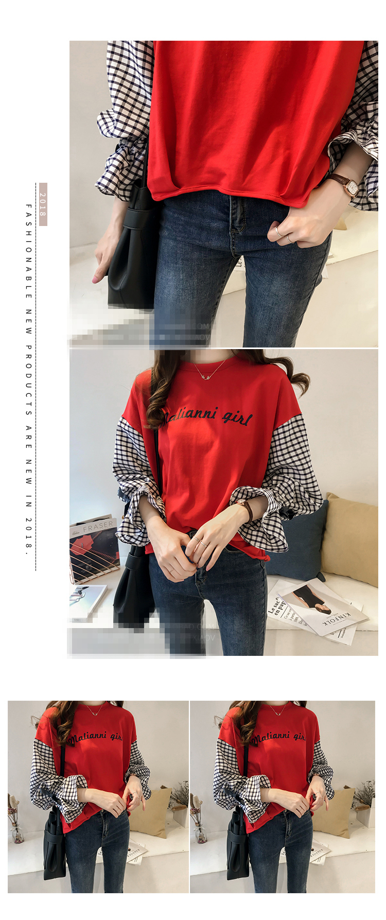 M-4xl Plus Size Cotton Casual T-shirts Women Plaid Patchwork Flare Sleeve O-neck Tshirts Harajuku Fake Two Piece Loose Tees Tops 12 Online shopping Bangladesh