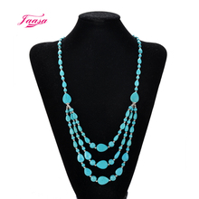 Beautiful green stone 3-layer long necklace, a woman retro jewelry give his wife, girlfriend a very good gift(China)