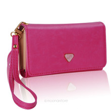 Multifunctional Candy Color Women's Envelope Wallet Purse PU Leather Clutch Bag Solid Phone Case Cover for all phone