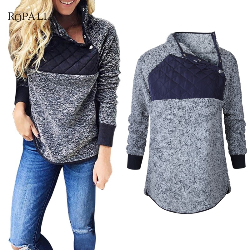 Women Fleece Sweatshirt High Neck Long Sleeve Warm Ladies Pullover Female Casual Loose Tops 8