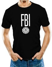 Bigaga Go New Fashion Print Short Sleeve Tees FBI Badge Design Hip Hop Tops O-Neck Cotton Men's T-Shirt