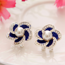 Austrian Crystal Stud Earrings For Women Silver Blue Wedding Earrings simulated Pearl Jewelry Charm Stud Earrings Wholesale hot(China)