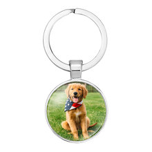 NingXiang Cute Pet Dogs Labrador Bulldog Poodle Pictures Glass Cabochon Key Chain Car Key Ring Key Holder Accessory Girl Gift