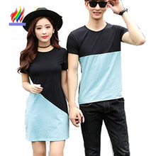 Couple Clothes For Lovers Summer Holiday Wear Short Sleeve Casual Tops Cotton T-Shirt Cute Sweet Korean Matching Couple T Shirts(China)