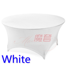 White colour wedding table cloth lycra table cover spandex table linen hotel banquet party round tables decoration on sale(China)