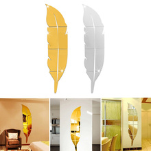 New Design DIY Modern Feather Dressing Acrylic Mirror Stickers 3D Stereoscopic Entrance Room Decor E2shopping LXY9(China)