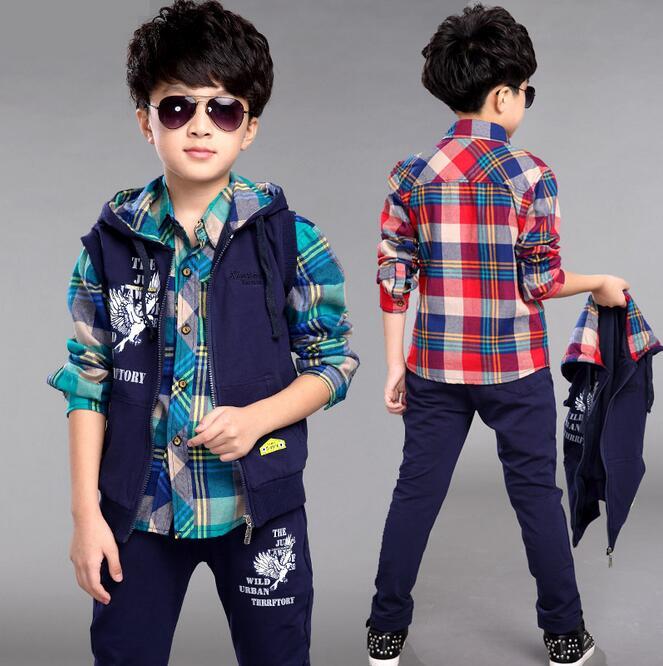 Autumn Cotton Clothing Sets Kids Clothes Boys Plaid Shirt Three-piece Ensemble Garcon New Long Sleeve Childrens Tracksuit <br><br>Aliexpress