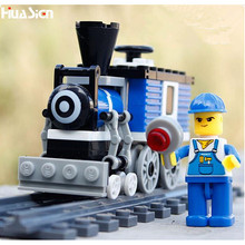 The Best Gift for Kids Boys! DIY Enlighten Train Model Building Bricks Toys Plastic Educational City Railway Blocks Kit(China)