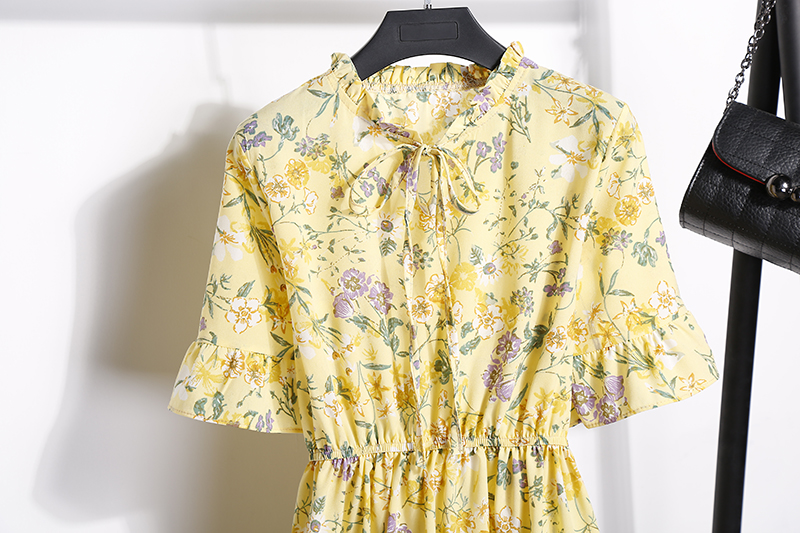 2018 Free Shipping New Fashion Floral Chiffon Summer Dresses Sweet Thin Word Slim Women Work Wear Print Dress Casual Cute Hot 28