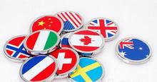 Car styling 36x36mm Round Sticker for Germany Union Jack USA Sweden Swiss Norway Italy Canada France China Australian flag(China)