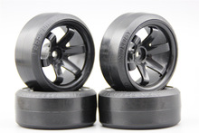 Pre-Glued 4pcs RC CS-R Drift Tires Tyre Wheel W6SNK 9mm offset (Material Black) With Silencing Sponge For 1/10 drift Car