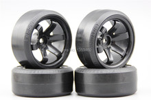 Pre-Glued 4pcs RC CS-R Drift Tires Tyre Wheel W6SNK 9mm offset (Material Black) With Silencing Spongege For 1/10 drift Car(China)