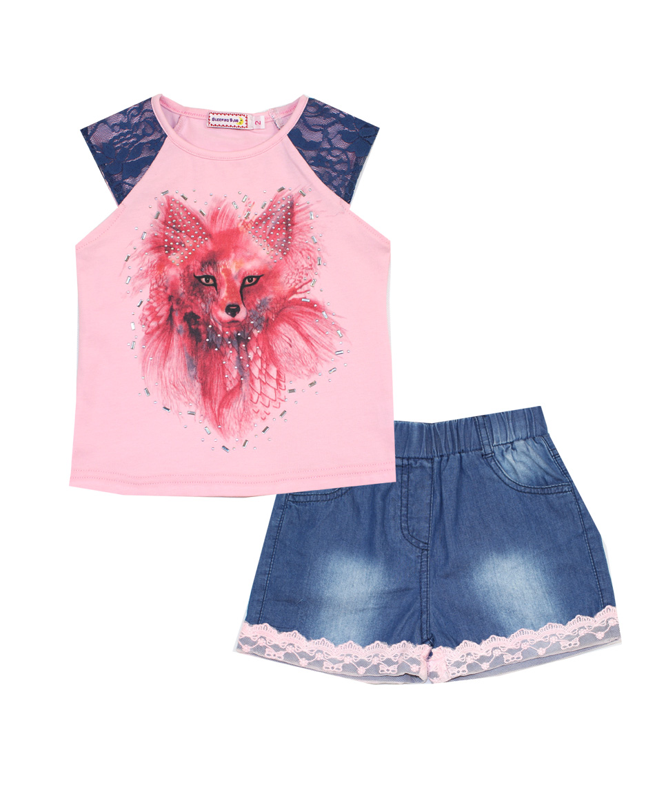 2017 fashion brand summer girl domeilandclothing set outfits cute baby kids cotton short sleeved fox lace tops shorts pant suits<br><br>Aliexpress