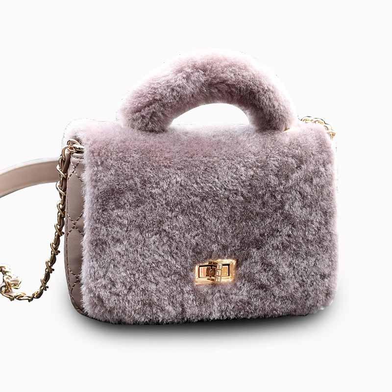 Fashion Women Messenge Bags Genuine Leather Fluff Shoulder Bags Crossbody Ladies Handbag Female Clutch Purse New Flap Bags Sac<br>