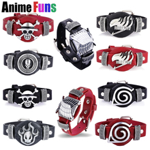 16 Types Anime Bracelets Attack on Titan One Piece Fairy Tail Bleach Naruto Death Note Game CF Cross Fire LOL PU Leather Bangles