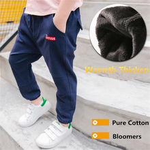Winter Children Boys Thicken Brushed Long Pant Cotton Embroidered Bloomers Thermal Casual Trousers Ankle Banded Pants For 5-16Y(China)