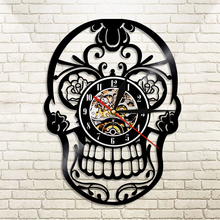 1Piece The Day of Dead dia de los Muerte Mexican Skull LED Lighting Color Changing Wall Clock With Remote Controller Home Decor(China)
