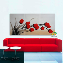 Detailed hand painted Red flowers Modern Canvas floral painting Floral Oil Painting Wall Art pictures for living room 3 pieces