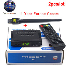 2pcs Satellite TV Receiver decoder Freesat V7 HD DVB-S2 + USB Wfi with 4 lines Europe CCCam account support full powervu cccam(China)