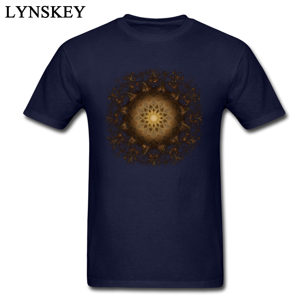 100% Cotton Tops Tees Copper Mandala for Boys Printed On T-Shirt Casual Prevailing Round Neck Short Sleeve Sweatshirts Copper Mandala navy