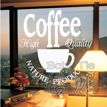 Free Shipping Coffee Shop Vinyl Wall Decal Coffee Logo Coffee Cups Mural Art Wall Sticker Coffee Shop Bar Home Decoration