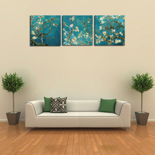Hot Sale 3 Piece Wall Art  Blossoming Almond Tree Canvas Painting HD Canvas Prints Art for Office Living Room Decoration