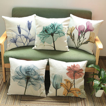 Vintage Flower Watercolor Cushion Cover Purple Blue Yellow Pink Sofa Throw Pillow Cases Home Decorative Pillow Cover 18'' KDT994