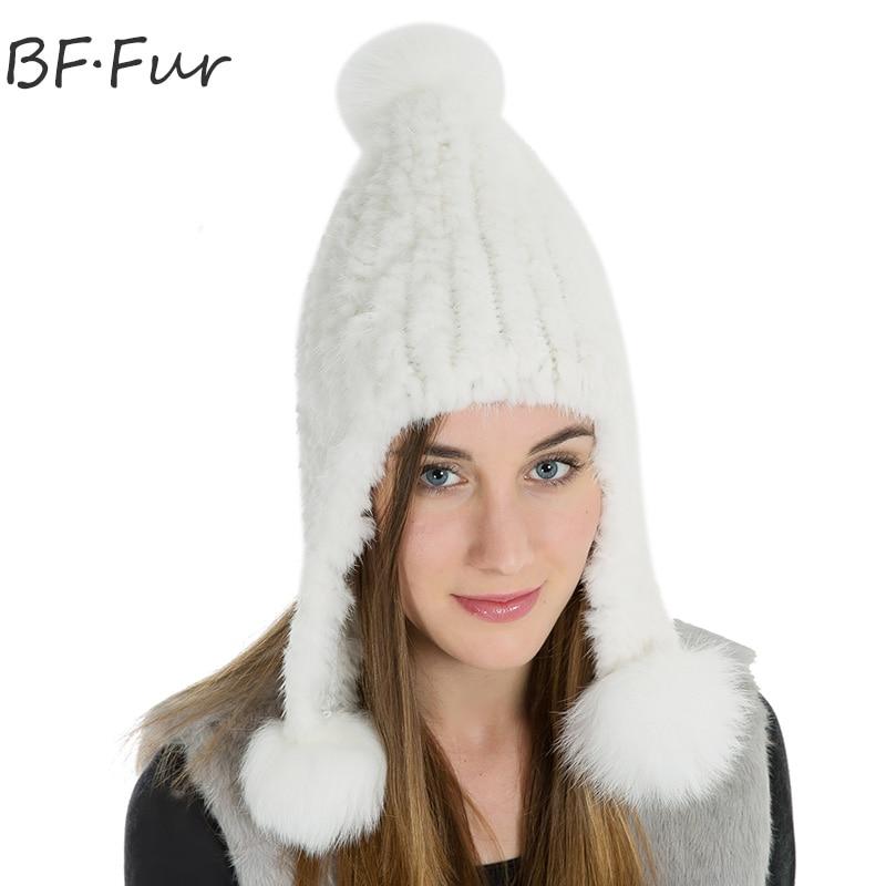 Russian Winter Warm Mink Fur Hat For Female Knitted Cotton Warm Bonnet Natural Solid Color Adult Cap Ladies Real Animal pompomÎäåæäà è àêñåññóàðû<br><br>
