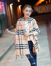 cashmere scarf Plaid warm winter long scarf and thick dual-purpose female pashima