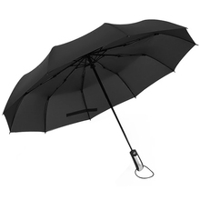 Fully-Automatic Folding Umbrella Male Large Strong Windproof Unbreakable Heavy-Duty Travel Outdoor Handle  Black Rain Umbrellas