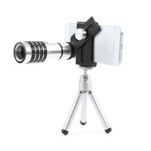 Buy Universal 12X Zoom Mobile Phone Lens Aluminum Optical Telescope Telephoto Camera Lens Mini Tripod Iphone Samsung for $19.59 in AliExpress store