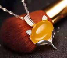 Natural yellow chalcedony pendant S925 silver Natural gemstone Pendant Necklace trendy Elegant cute fox women girl party jewelry(China)