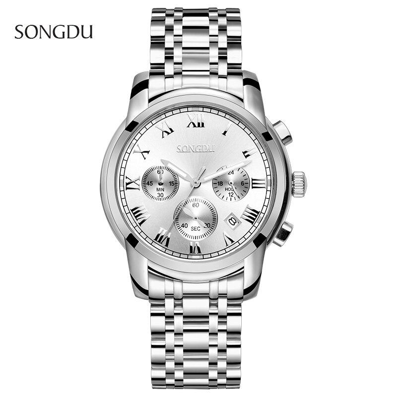 Men Watch Original Top Brand SONGDU Steel Band Mens Clock luminous Waterproof Wristwatches Multifunction Fashion Hours Hot Sale<br><br>Aliexpress