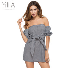 Yilia 2017 Explosion Leisure Summer Plaid Vintage Dress Women Off Shoulder Check Print Sexy Casual Mini Short Party Vestidos Bow