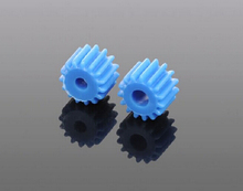 10 pcs/lot 2.3/3.17mm Pore 15 Tooth Blue Plastic Shaft Gear DIY Toys Parts Free Shipping Russia(China)
