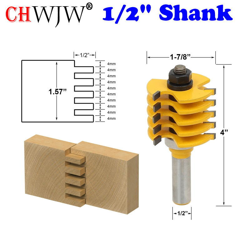 1pc Box Joint Router Bit - Adjustable 5 Blade - 3 Flute - 1/2 Shank For Wood Cutter Tenon Cutter for Woodworking Tools<br>