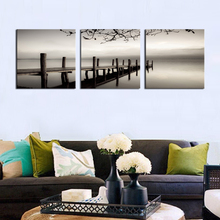 3 Panels Black and White Wooden Bridge Painting Giclee Artwork Landscape Picture Printed Wall Art Wooden Framed For Home Decor(China)