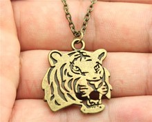 WYSIWYG 2 colors antique silver, antique bronze plated 27*24mm double sided tiger pendant necklace