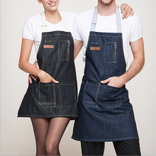 High Quality Cotton Denim Apron Restaurant Waiter Chef Kitchen Aprons For Men Women Short Apron With Pockets