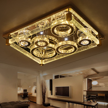Led ceiling light rectangle crystal lamp modern brief luxury of the bubble crystal column lamps(China)
