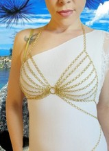 SALE! PRICE REDUCED Gold Colored Full Body Chain Bra for Burning man Festivals, Clubwear, Sexy Lingerie and S and M